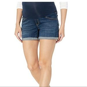 Indigo blue maternity denim shorts
